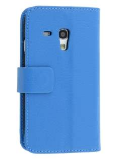 Synthetic Leather Wallet Case with Stand for Samsung I8190 Galaxy S3 mini - Blue Leather Wallet Case