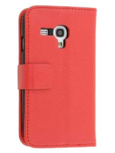 Synthetic Leather Wallet Case with Stand for Samsung I8190 Galaxy S3 mini - Red Leather Wallet Case