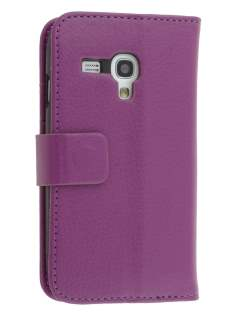 Synthetic Leather Wallet Case with Stand for Samsung I8190 Galaxy S3 mini - Purple Leather Wallet Case
