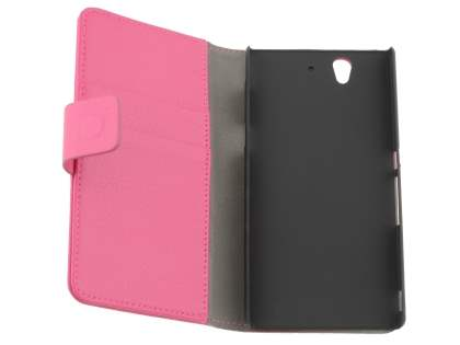 Sony Xperia Z Slim Synthetic Leather Wallet Case with Stand - Pink