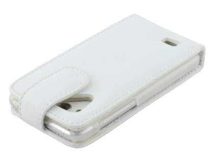 HTC Desire VC Genuine Leather Flip Case - Pearl White