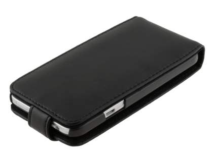 HTC Desire VC Genuine Leather Flip Case - Classic Black