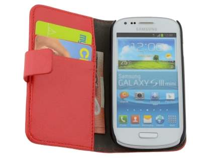 Samsung I8190 Galaxy S3 mini Slim Synthetic Leather Wallet Case with Stand - Red
