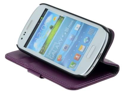 Samsung I8190 Galaxy S3 mini Slim Synthetic Leather Wallet Case with Stand - Purple