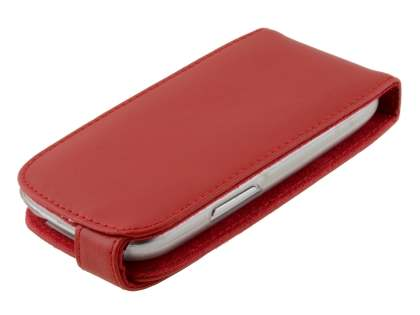 Samsung I8190 Galaxy S3 mini Genuine Leather Flip Case - Red