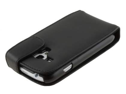 Samsung I8190 Galaxy S3 mini Genuine Leather Flip Case - Classic Black