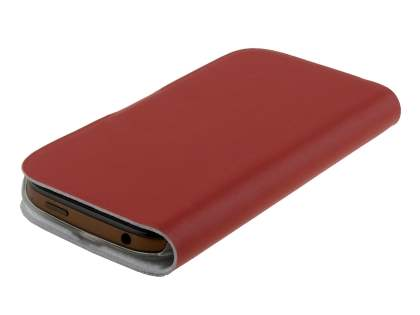 HTC One SV Slim Genuine Leather Portfolio Case - Red