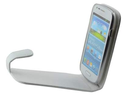 Samsung I8190 Galaxy S3 mini Genuine Leather Flip Case - Pearl White
