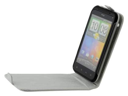 HTC Incredible S Genuine Leather Flip Case - Pearl White