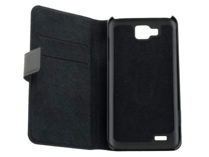 Slim Genuine Leather Portfolio Case for Samsung Ativ S I8750 - Classic Black