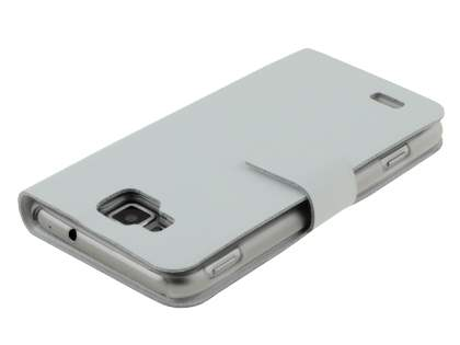 Slim Genuine Leather Portfolio Case for Samsung Ativ S I8750 - Pearl White