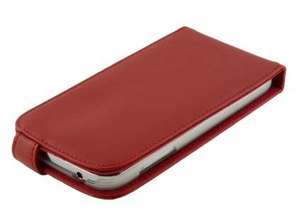 Samsung Galaxy Grand I9080 Genuine Leather Flip Case - Red