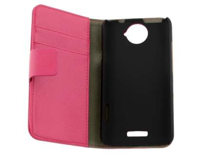 HTC One X / XL / X+ Slim Synthetic Leather Wallet Case with Stand - Pink