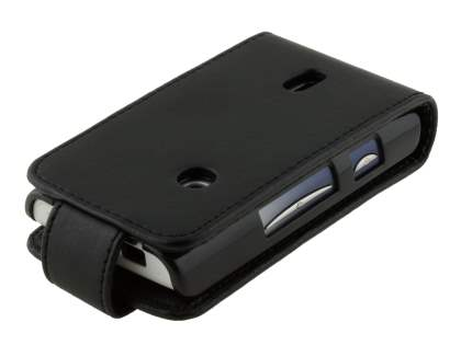 Sony Ericsson XPERIA X8 Synthetic Leather Flip Case - Classic Black