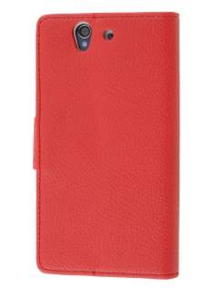 Sony Xperia Z Slim Synthetic Leather Wallet Case with Stand - Red