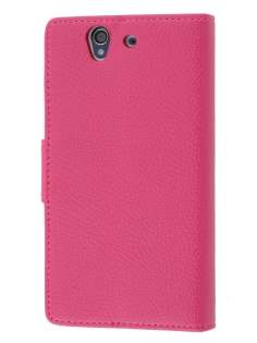 Synthetic Leather Wallet Case with Stand for Sony Xperia Z - Pink