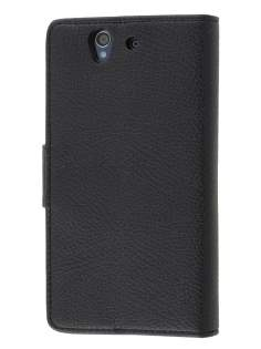 Synthetic Leather Wallet Case with Stand for Sony Xperia Z - Classic Black Leather Wallet Case