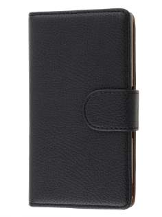 Sony Xperia Z Slim Synthetic Leather Wallet Case with Stand - Classic Black
