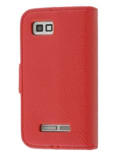 Motorola DEFY XT535 Slim Synthetic Leather Wallet Case with Stand - Red Leather Wallet Case