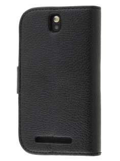 Synthetic Leather Wallet Case with Stand for HTC One SV - Classic Black Leather Wallet Case