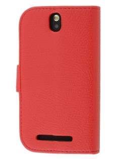 Synthetic Leather Wallet Case with Stand for HTC One SV - Red Leather Wallet Case
