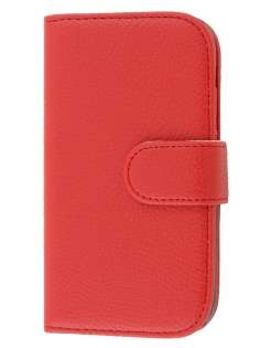 HTC One SV Slim Synthetic Leather Wallet Case with Stand - Red