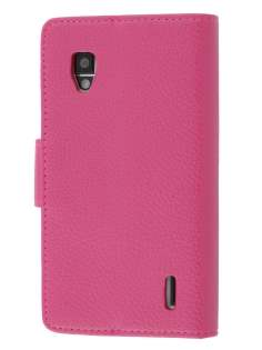 Synthetic Leather Wallet Case with Stand for LG Optimus G E975 - Pink Leather Wallet Case