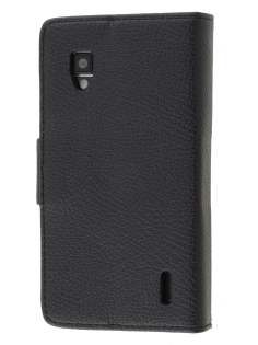 Synthetic Leather Wallet Case with Stand for LG Optimus G E975 - Classic Black Leather Wallet Case