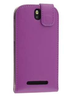 HTC One SV Synthetic Leather Flip Case - Purple