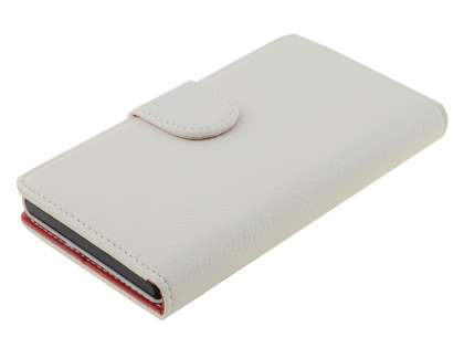 Sony Xperia Z Slim Synthetic Leather Wallet Case with Stand - Pearl White