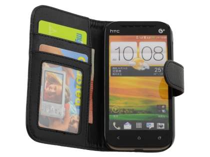 Synthetic Leather Wallet Case with Stand for HTC One SV - Classic Black