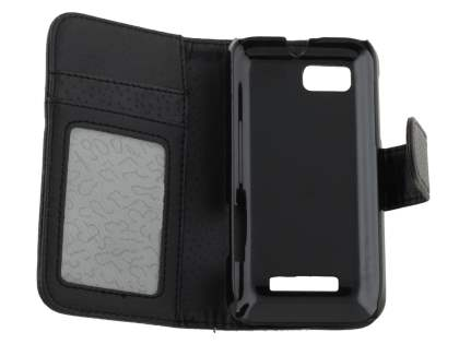 Motorola DEFY XT535 Slim Synthetic Leather Wallet Case with Stand - Classic Black