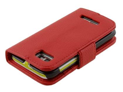 Motorola DEFY XT535 Slim Synthetic Leather Wallet Case with Stand - Red