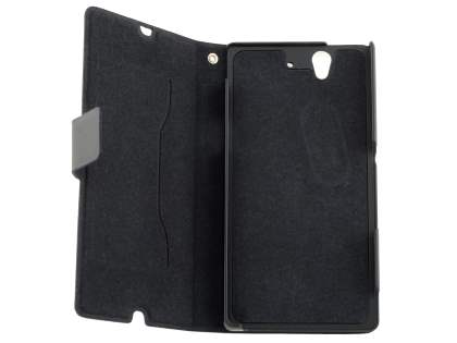 Sony Xperia Z Slim Genuine Leather Portfolio Case - Classic Black