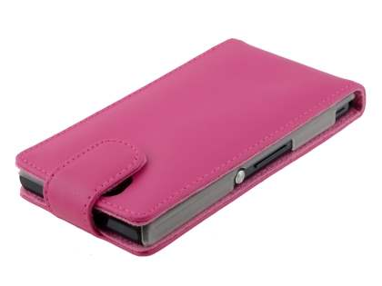 Sony Xperia Z Genuine Leather Flip Case - Pink