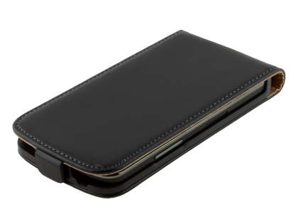 Slim Genuine Leather Flip Case for LG Nexus 4 E960 - Classic Black