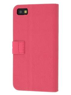 BlackBerry Z10 Synthetic Leather Wallet Case with Stand - Pink Leather Wallet Case
