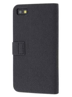 BlackBerry Z10 Synthetic Leather Wallet Case with Stand - Classic Black Leather Wallet Case