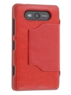 Fabric Flip Cover with built-in Stand for Nokia Lumia 820 - Red Leather Wallet Case