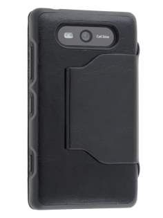 Fabric Flip Cover with built-in Stand for Nokia Lumia 820 - Classic Black Leather Wallet Case
