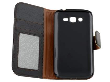Samsung Galaxy Grand I9080 Slim Synthetic Leather Wallet Case with Stand - Classic Black