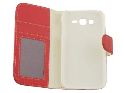 Samsung Galaxy Grand I9080 Slim Synthetic Leather Wallet Case with Stand - Red