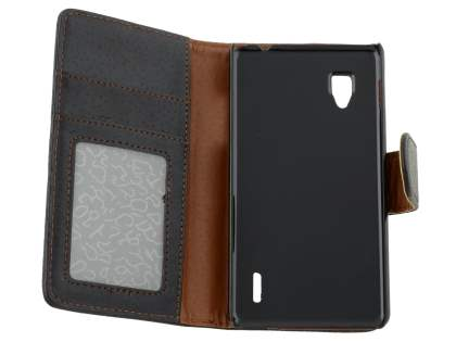 LG Optimus G E975 Slim Synthetic Leather Wallet Case with Stand - Classic Black