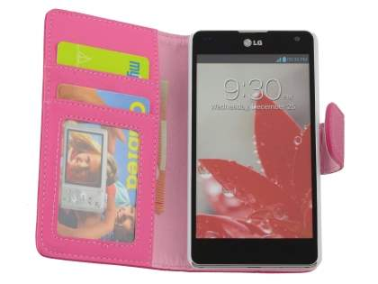 LG Optimus G E975 Slim Synthetic Leather Wallet Case with Stand - Pink