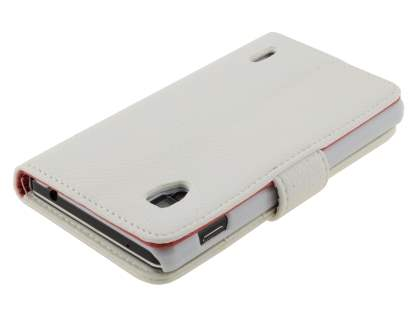 LG Optimus G E975 Slim Synthetic Leather Wallet Case with Stand - Pearl White