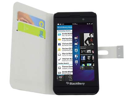 BlackBerry Z10 Synthetic Leather Wallet Case with Stand - Pearl White