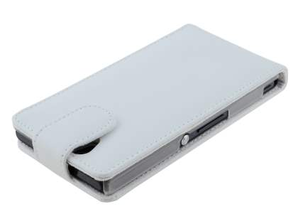 Genuine Leather Flip Case for Sony Xperia Z - Pearl White