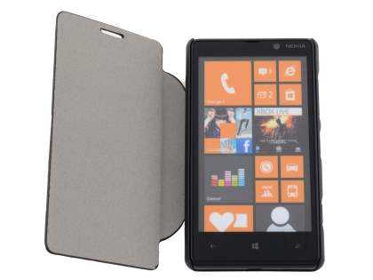 Slim Fabric Flip Cover with built-in Stand for Nokia Lumia 820 - Classic Black