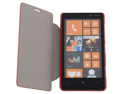 Slim Fabric Flip Cover with built-in Stand for Nokia Lumia 820 - Red