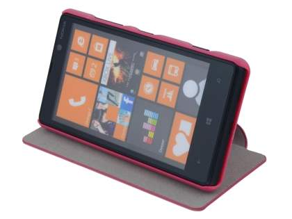 Slim Fabric Flip Cover with built-in Stand for Nokia Lumia 820 - Pink